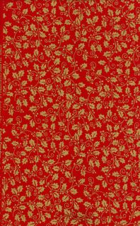 Christmas Ribbons Metallic from Fabric Freedom Red Holly