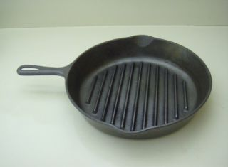 Vintage Wagner Ware Sidney Angus Grill Ridged Cast Iron Broiler Skillet Fry Pan