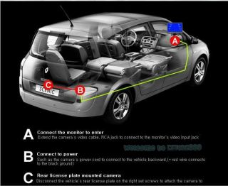 "170° Car Rear View Reverse Backup Camera Cam w HD 7"" LCD Color Monitor Screen"
