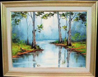 Gercken Australian River Eucalyptus Gum Trees Landscape Original Oil Painting
