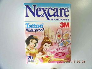 Nexcare 19 Boxes Disney Princess Tattoo Bandages Waterproof Bandaids