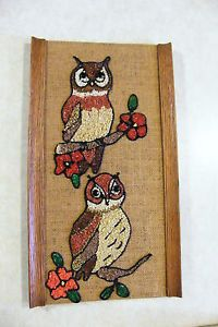 Vintage Retro Pebble Gravel Wall Art Owl Couple
