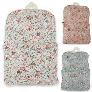 Unihood Womens Flower Floral Square Shape Bags Cotton Backpack Girls School Bag