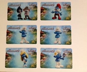 McDonald's Smurf schtroumpf 2 Canada Gift Card 2013 All 6 Gift Cards