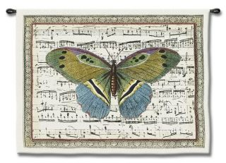 Antique Butterfly II Musical Notes Decor Art Tapestry Wall Hanging Small