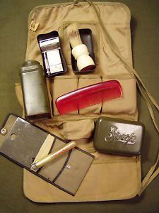 WWII WW2 US Army Personal Grooming Kit Gillette Razor Mirror Comb Etc