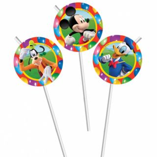6 Disney Mickey Mouse Clubhouse Balloons Birthday Flexible Party Drinking Straws