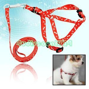 Red Pet Dog Puppy Pulling Lead Nylon Harness Leash Rope