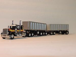 "DCP Black w Stripes Peterbilt 379 36"" Custom Set of Michigan Gravel Trains 1 64"