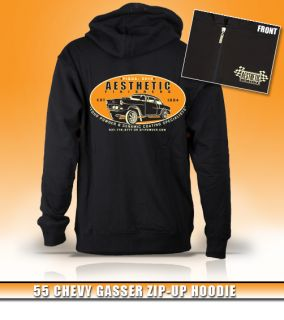 Aesthetic Finishers 1955 55 Chevy Gasser Hot Rod Zip Up Hooded Hoodie Sweatshirt