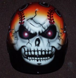 Airbrushed Flaming Skull Personalized Baseball Batting Helmet New