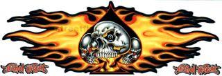 Flame Ace Skull Decal Window Boat Semi Trailer