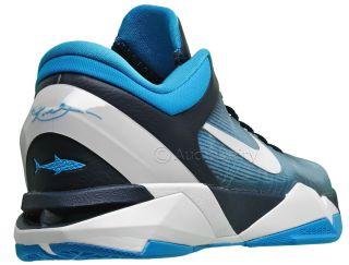 New $180 Nike Zoom Kobe VII Shark Mens Low Basketball Shoes Aqua Navy Blue