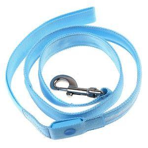 Blue LED Flashing Light Dog Pet Rope Belt Harness Safety Glow Leash Lead