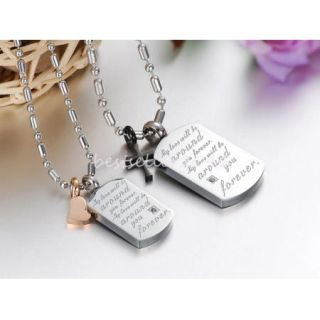 Stainless Steel Heart Cross Matching Couples Dog Tag Pendant Necklace 1 Pair