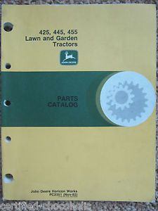 John Deere 425 445 455 Lawn Garden Tractors Parts Catalog Manual PC2351