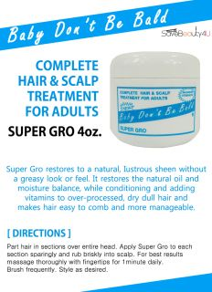 Baby Don'T Be Bald Super Gro Complete Hair Scalp Treatment for Adults 4oz