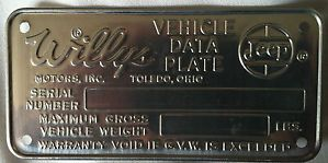 Willys Jeep Overland Vehicle Data Plate Serial Number ID Tag