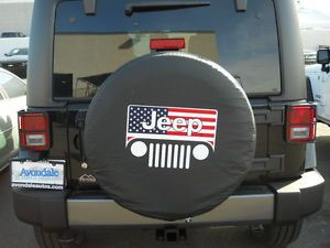 "Jeep Wrangler Liberty All American Flag 35"" inch Soft Spare Tire Cover Covers"