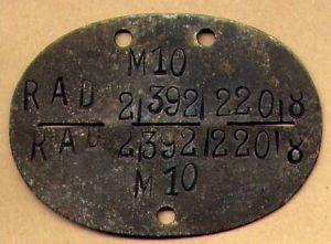 Original German WWII Wehrmacht ID Tag Dog Tag M10 Rad 2 392 220 8