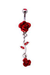 Morbid Metals 14 Gauge Red Rose Navel Barbell
