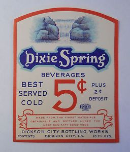 Vintage Antique Soda Bottle Label Dixie Spring Beverages Dickson City PA