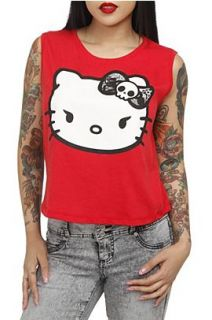 Hello Kitty Skull Bow Red Crop Tank Top