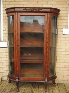 Antique Quarter Oak Bow Front China Cabinet F9919