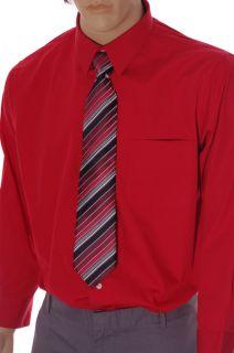 Croft Barrow Mens Red Collar Dress Shirt Striped Tie 16 1 2 17 Large 32 33 New