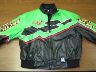 Arctic Cat Snowmobile Suit Winter Green Black Leather XL Jacket L Snow Pants