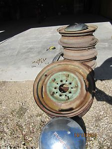 Vintage 1951 Dodge Chrysler Plymouth 5 Original Rims and Hubcaps Lugs
