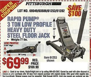 Harbor Freight Coupon to Save $100 on 3 Ton Heavy Duty Low Profile Floor Jack