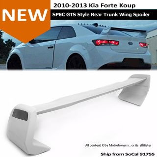 For 10 13 Kia Forte Koup Spec GTS Style Rear Trunk Wing Spoiler Unpainted Gray