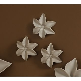 Set of 3 Small Taupe Ceramic 3D Decorative Artistic Flowers Wall Sculptures