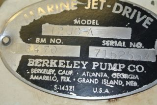 Berkeley Boat Jet Drive Model 12JC A Pump V8 Chevy GM Jet Pump
