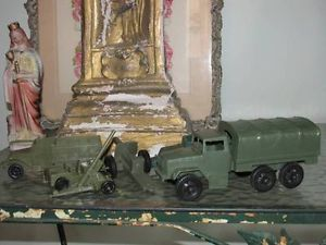 Vintage Plastic Army Men Vehicle Tank Truck Accessories Lot Military