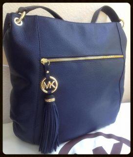 Michael Kors MK Navy Blue Logo Tassel Charm Leather Satchel Shoulder Handbag