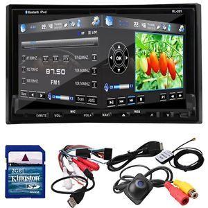 "GPS Map 7"" HD Car Stereo DVD CD Player Radio iPod Bluetooth USB SD Free Camera"