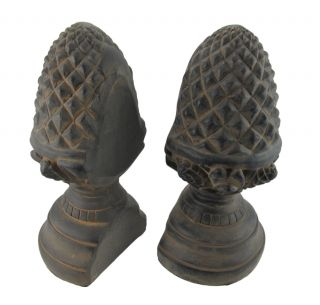 Beautiful Antiqued Finish Pinecone Finial Bookends Book Ends