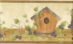 Country Kitchen Wallpaper Border Birdhouses and Bees Wall Border Brown Trim