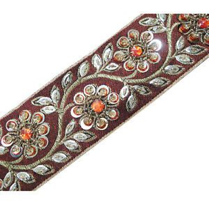 1 Yard Orange Ribbon Trim Hand Beaded Sequin Stone Border Lace Craft Sewing