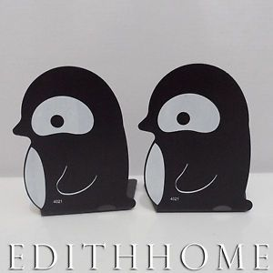 Sea Animals Penguin Metal Bookends Book Stand for Kid 2pc Black White