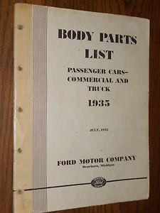 1935 Ford Car Truck Body Parts Catalog Original Book