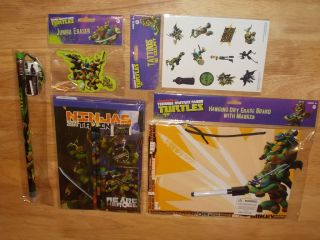 TMNT Teenage Mutant Ninja Turtles School Supplies Lot Dry Erase Board Tattoos