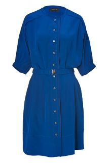 Sapphire Blue Belted Silk Shirtdress von DEREK LAM  Luxuriöse
