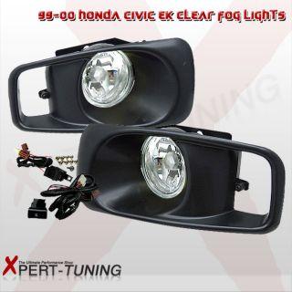 99 00 Honda Civic EK JDM Driving Fog Lights Lamps Kit Clear Lens RH LH