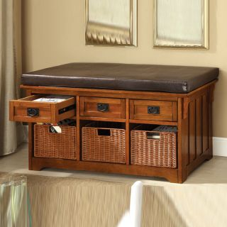 Dark Oak Wood Functional Entryway Storage Bench w Drawers Baskets Cushion Seat