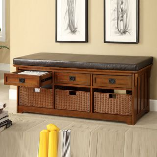 Large Oak Functional Entryway Storage Bench w Drawers Baskets Soft Cushion Seat