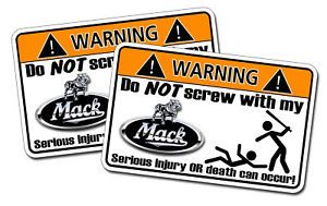 Mack Truck Warning Sticker Semi Tractor Trailer Big Rig
