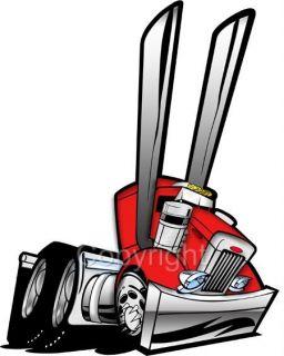 Cartoon Peterbilt Big Rig Semi Truck Hauler Tshirt 1005